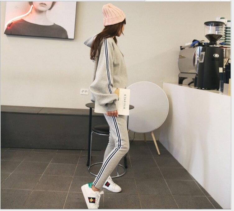 19 WOMEN'S Dress Korean-style Brace WOMEN'S Sweater Suit Fashion Casual Sports Striped Pants Two-Piece Set
