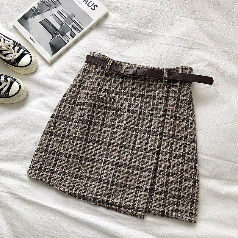 Vintage Women Plaid High Waist Mini Skirt 11