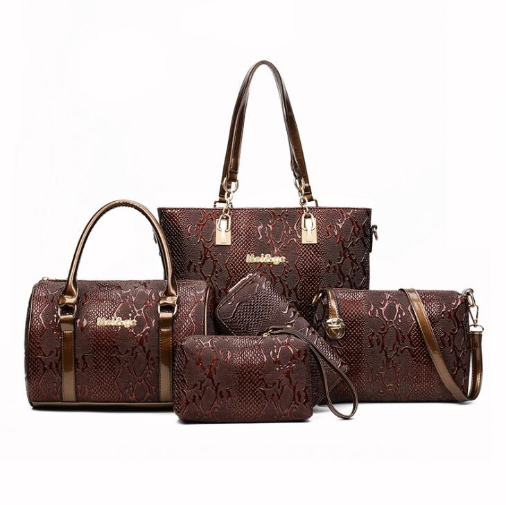 5 Sets Luxury Brands Women Tote+Shoulder/Messenger+Clutch Composite Bags High Quality Serpentine Handbag Designer Famous Bags