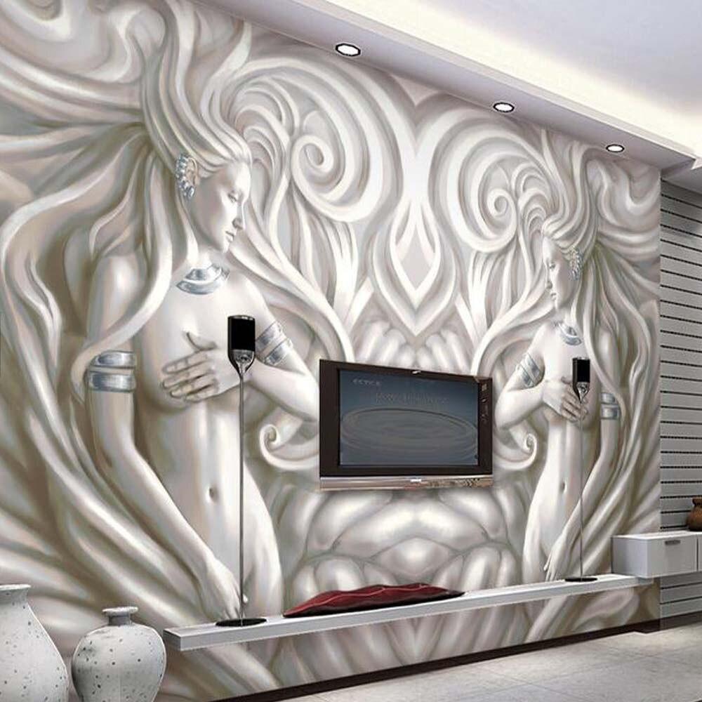 US $8 99 OFF 3D Eropa Patung Foto Mural Wallpaper Untuk Ruang Tamu Kamar Tidur TV Latar Belakang Dinding Seni Dekorasi Dinding Kertas Mural Ukuran