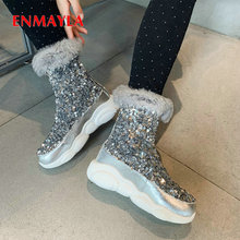 ENMAYLA Sequined Cloth Ankle Women Shoes Round Toe Flat with PU Winter Boots Bling Polka Dot Short Plush Platform