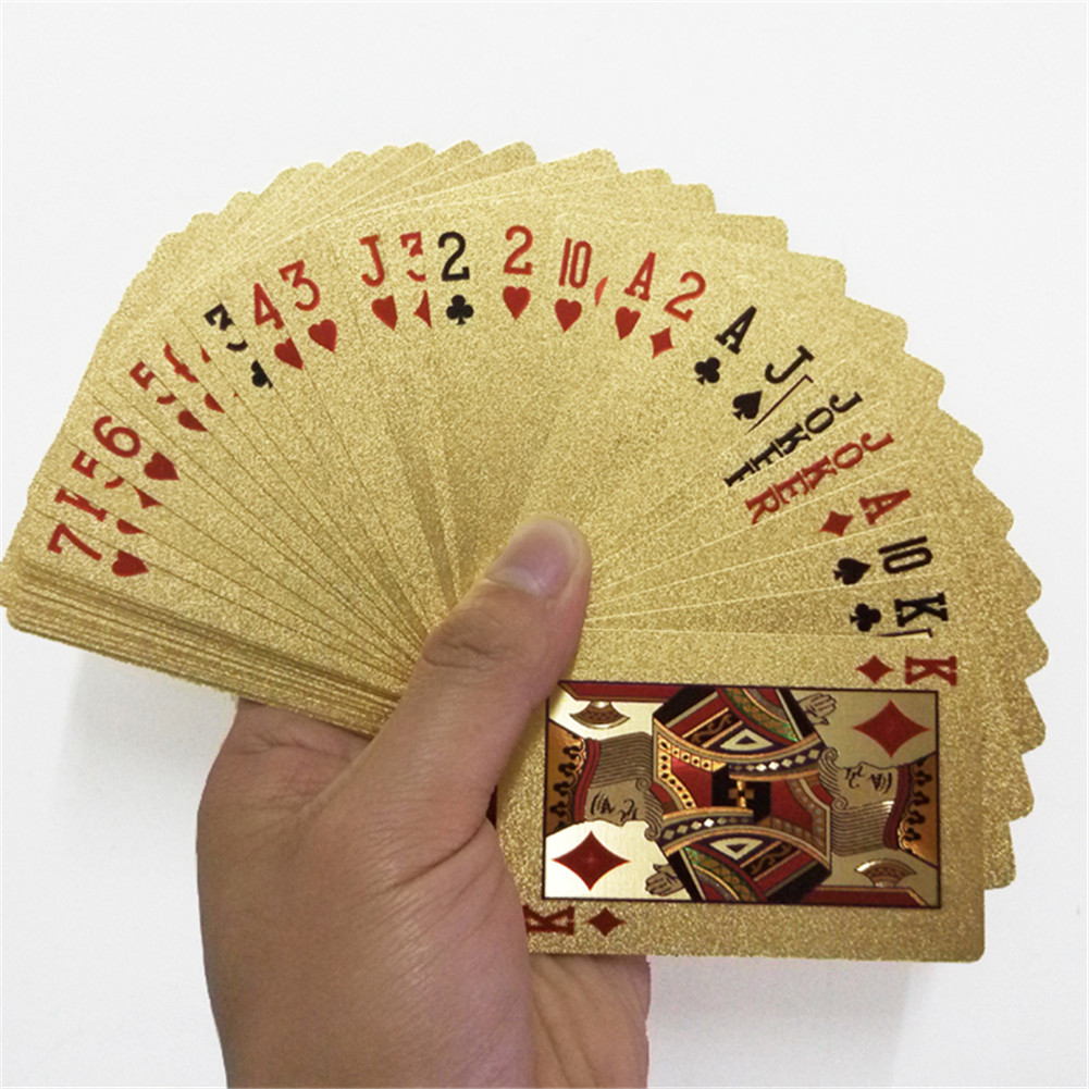 Entertain Golden Playing Cards Deck Of Gold Foil Pokers Set Magic Cards 24K Gold Plastic Foil Pokers Durable Waterproof Cards(China)
