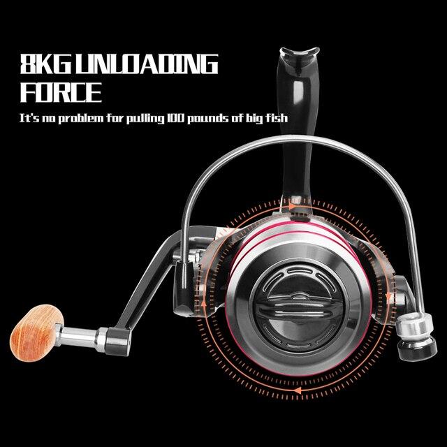 LINNHUE Fishing Reel All Metal Spool Spinning Reel 8KG Max Drag Stainless Steel Handle Line Spool Saltwater Fishing Accessories 3