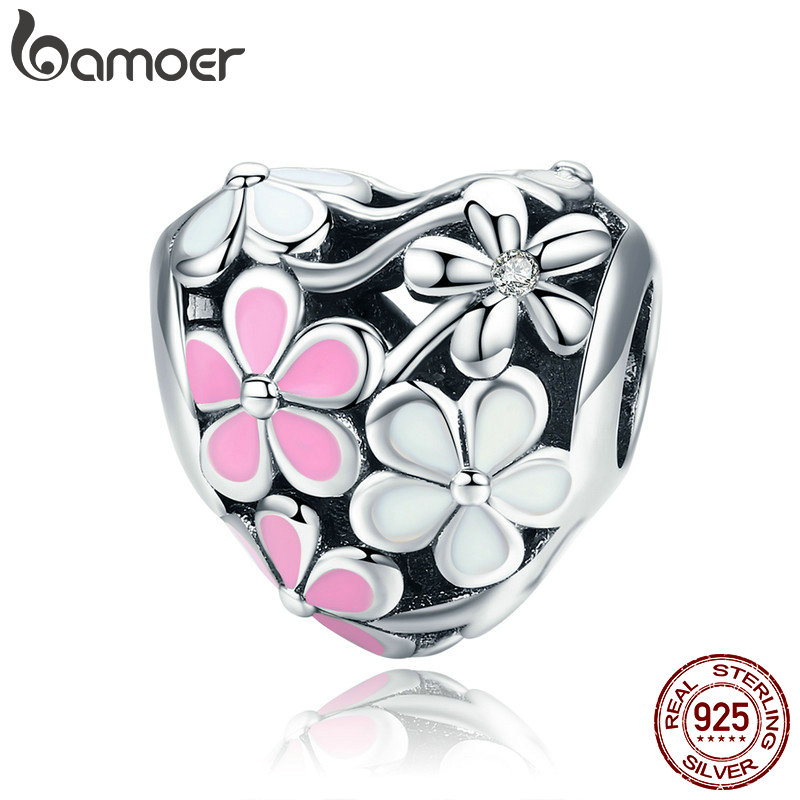 BAMOER New Collection 925 Sterling Silver Spring Pink Daisy Flower Charms Beads Fit Women Bracelet DIY Jewelry Making SCC761