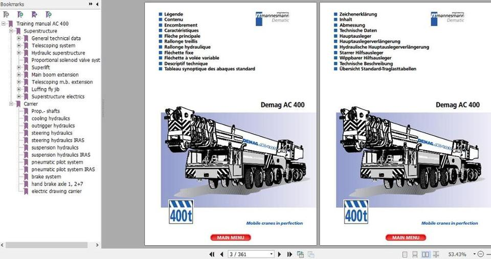 for terex demag crane full model service technical training manual diagram  and operation manual