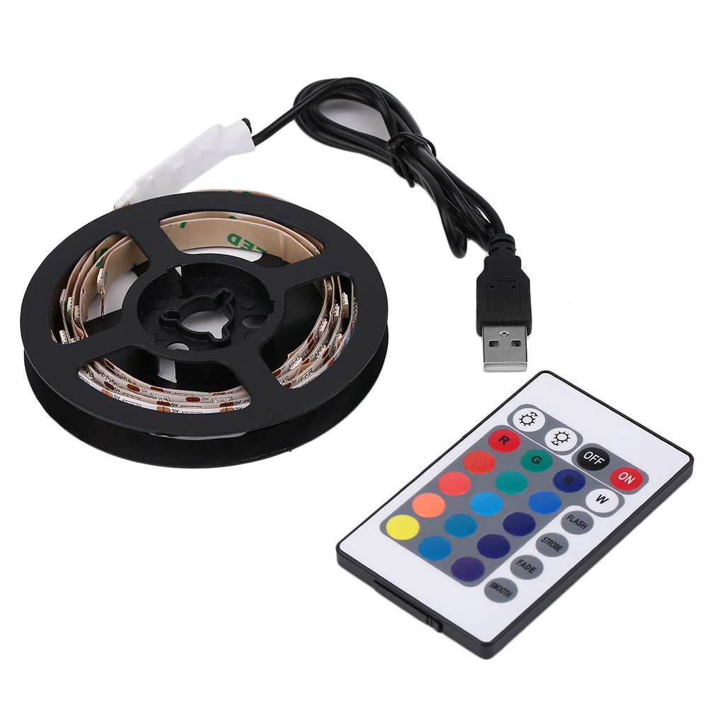 ICOCO 1pcs 12 RGB 5050 SMD LED Black/White Waterproof/None-Waterproof 5V Strip Light Lamp With Remote Controller+USB Hot Sale