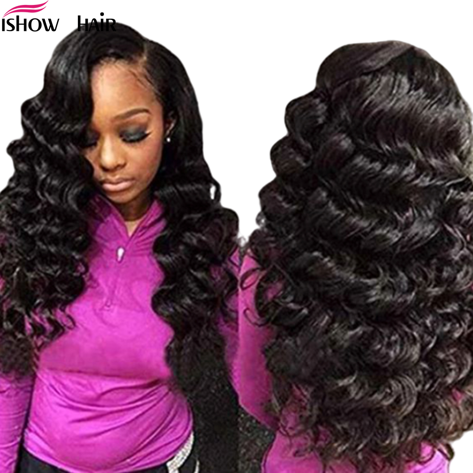 Ishow 4x4 Loose Wave Lace Closure Wig Brazilian Lace Front Wig Pre Plucked with Baby Hair 150% Remy Lace Front Human Hair Wigs
