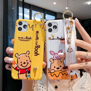 Cartoon Winnie Bear Piglet Suitcase Phone Case For iPhone 11 Pro Max 8 7 6 Plus X XR XS Max Fashion Wristband Soft Back Cover(China)