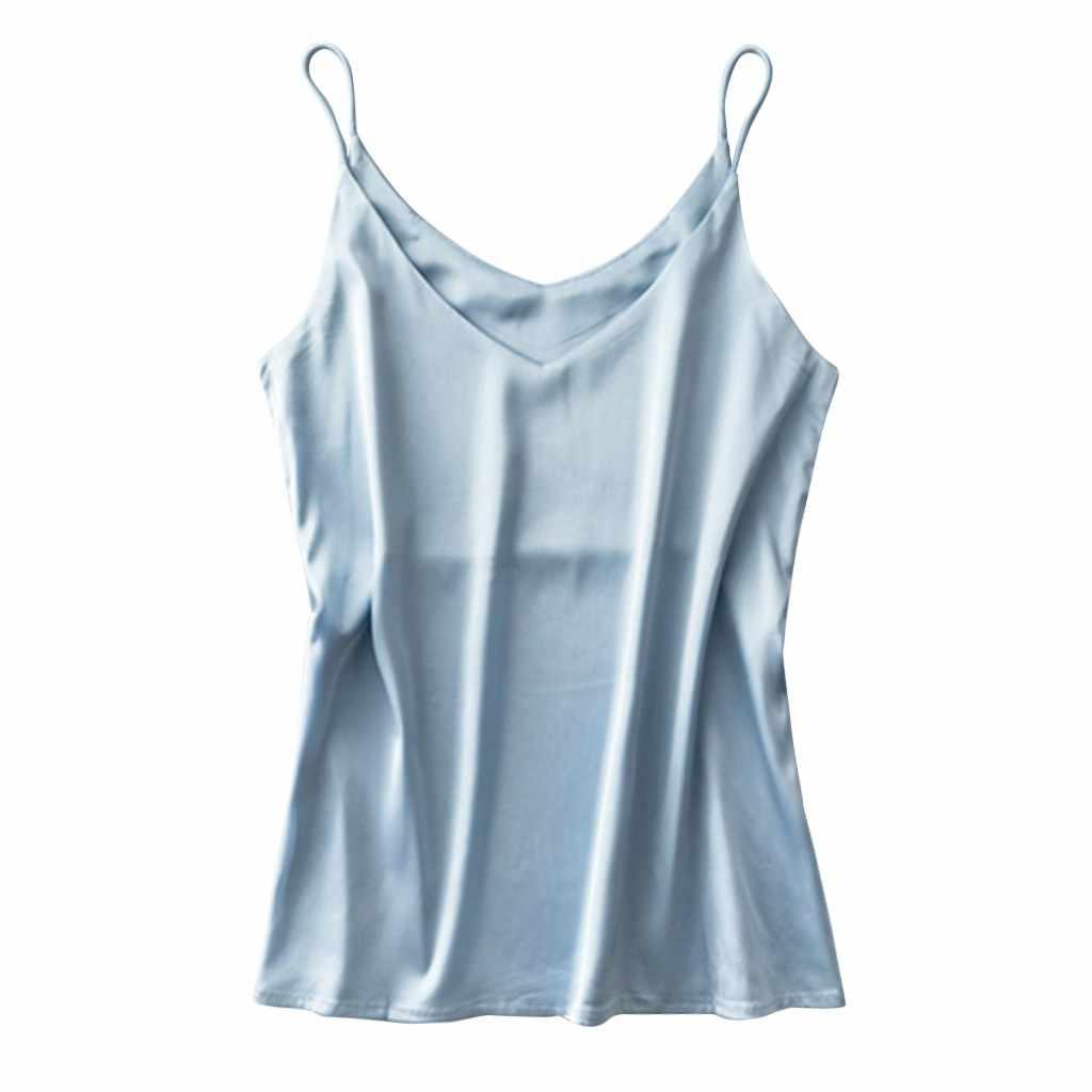 ผู้หญิงบางสีทึบ Camis เสื้อกั๊กผู้หญิง TANK Tops หญิง 2019 ฤดูร้อนเซ็กซี่สายคล้องคอพื้นฐานเสื้อชีฟองแขนกุด Camisole