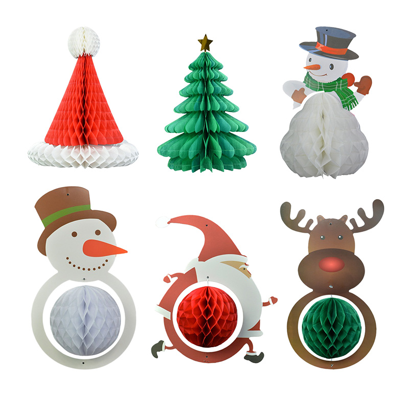 Cartoon Christmas Hanging Paper Honeycomb Balls Xmas Party Home Favor Decoration