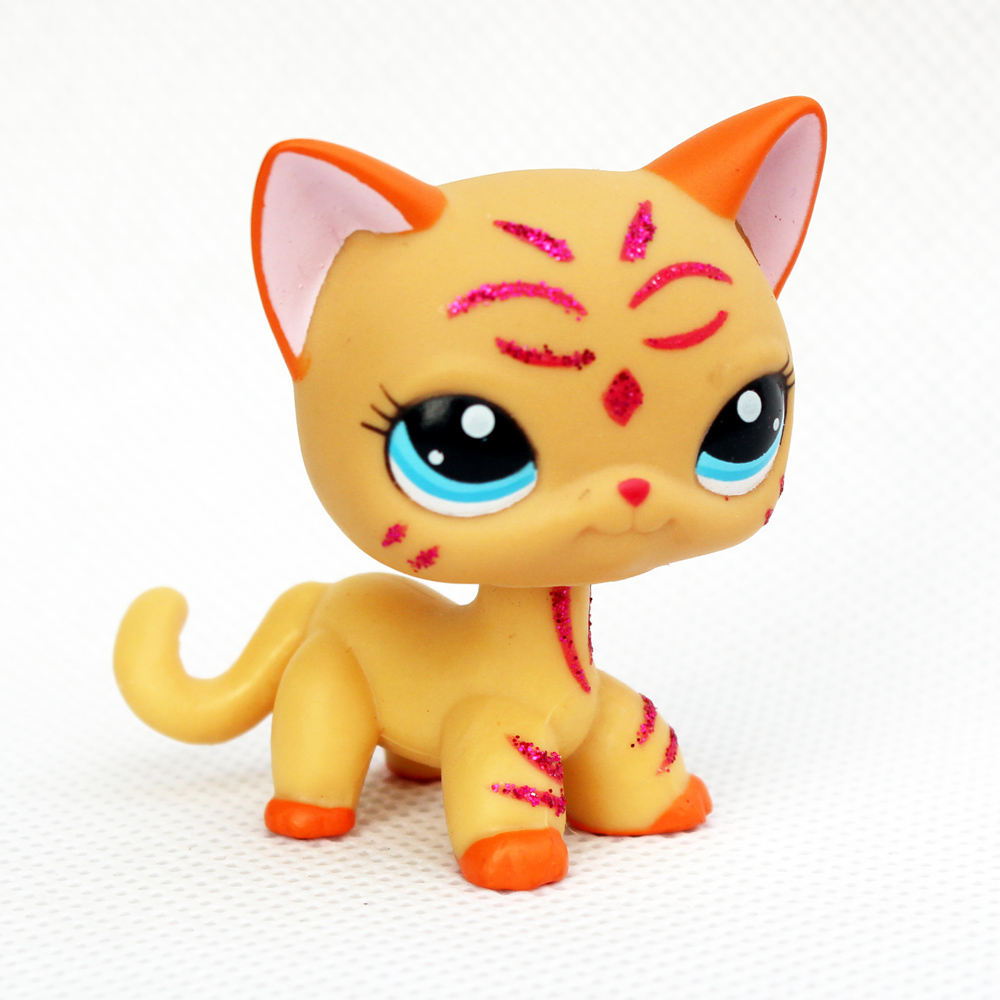 ON SALE Real original pet shop toys #2118 yellow animal short hair cat blue eyes cute animals for kids collection image