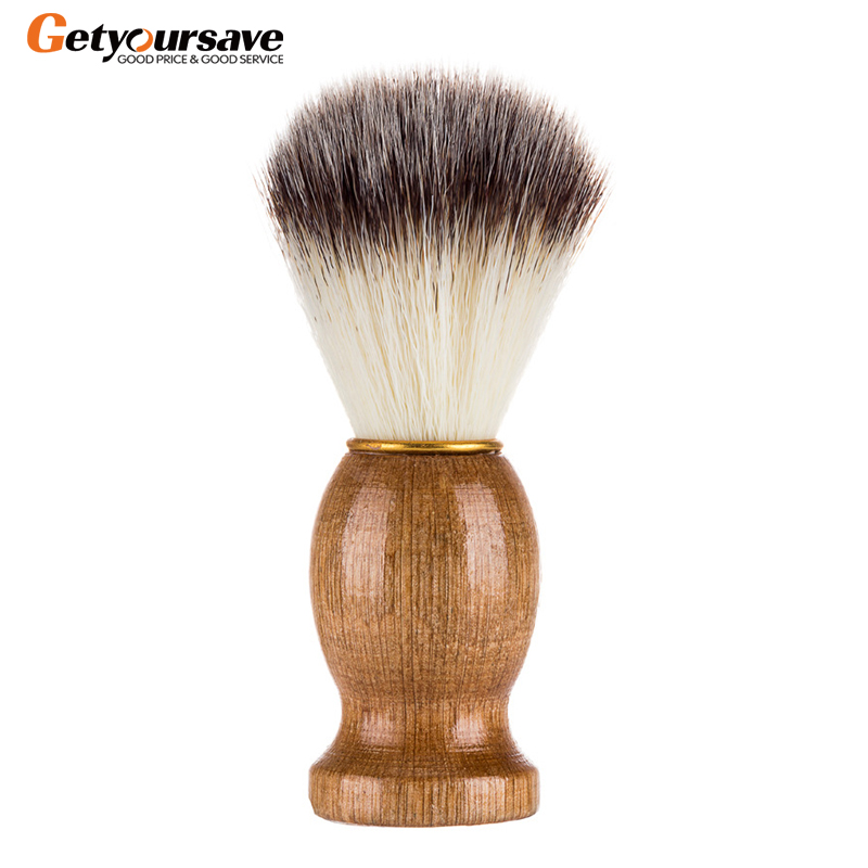 Badger Hair Men's Shaving Beard Brush Salon Men Facial Beard Cleaning Appliance Shave Tool Razor Brush With Wood Handle For Men-in Shaving Brush from Beauty & Health