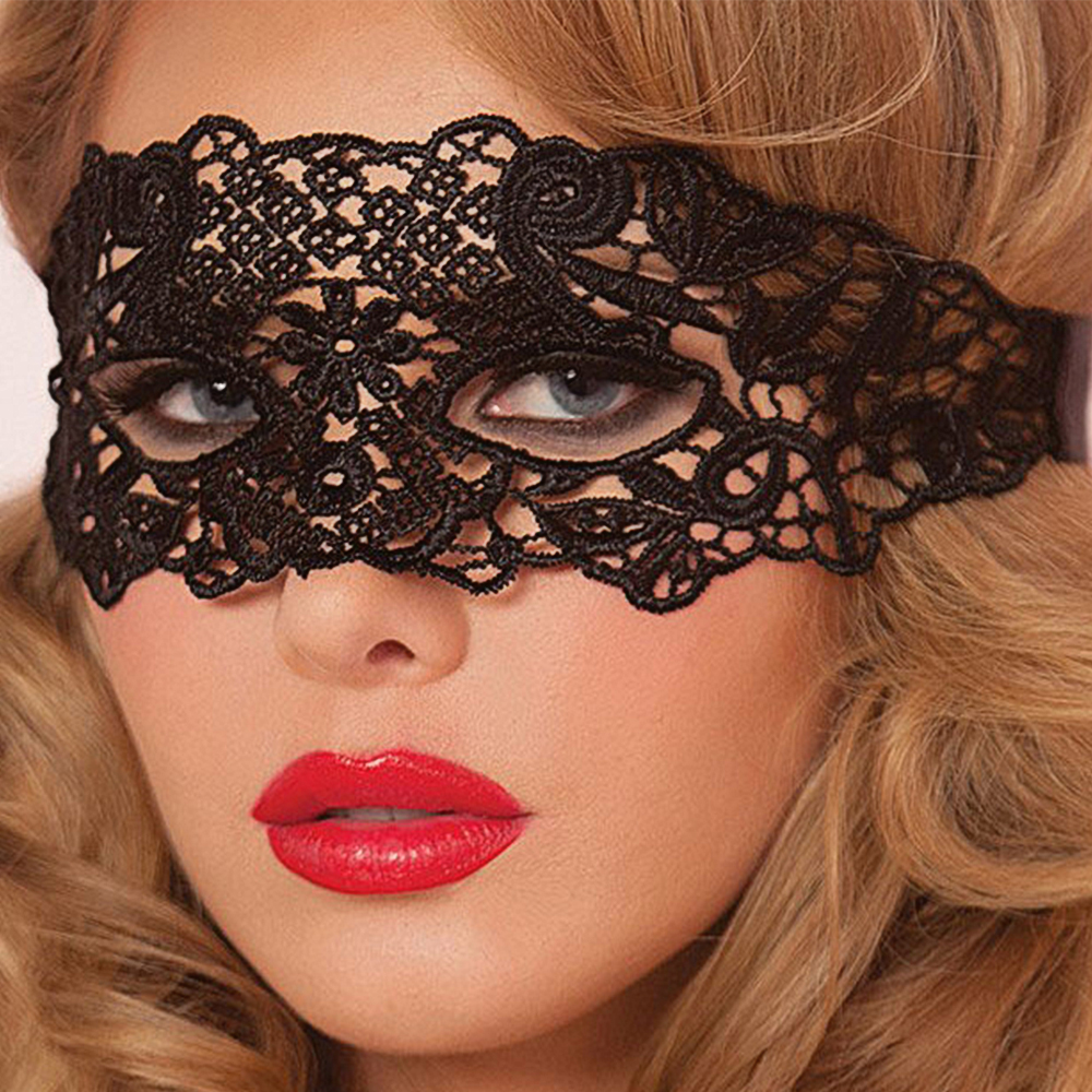 IKOKY Sexy Eye Mask Erotic Toys Gothic Nightclub Party Mask Mysterious Women Lace Sex Toys For Couple Foreplay Adult Game