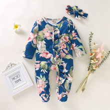цена на Baby Clothes Newborn Infant Baby Girl Boy Footed Sleeper Romper Headband Clothes Outfits Baby Autumn Long Sleeve Clothes