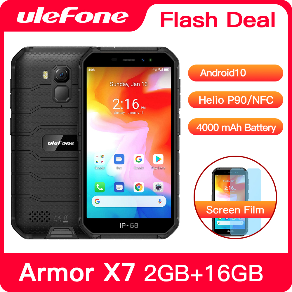 Ulefone Armor X7 Rugged Smartphone Android 10 Cell Phone 2GB 16GB  Ip68 Quad-core  NFC 4G Mobile Phone