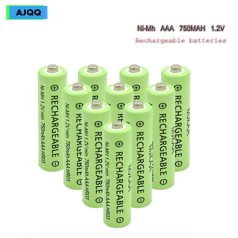 Wholesale cheap AJQQ large Capacity NiMH pkcell AAA rechargeable battery 750 MAH 1,2V AAA battery for Watch Clock toy(China)