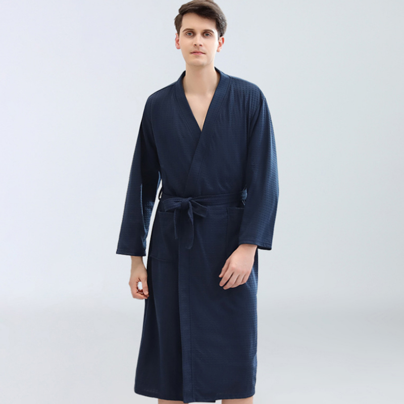 Summer Autumn Casual Robes Men Cotton Three Quarter Sleeve Nightgown Male Solid Color Kimono Bathrobe Gown Negligee