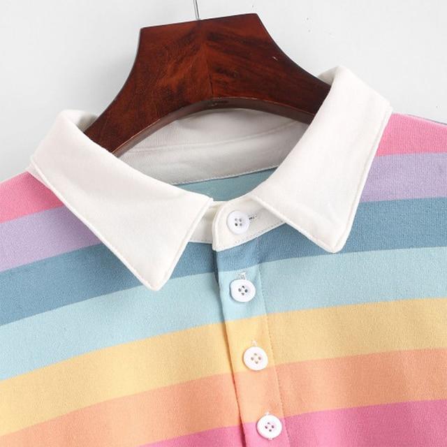QRWR 2020 Polo Shirt Women Sweatshirt Long Sleeve Rainbow Color Ladies Hoodies With Button Striped Korean Style Sweatshirt Women 6