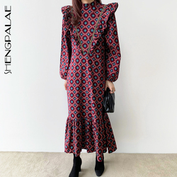 SHENGPALAE 2021 New Autumn Women Vintage Loose High Waist Slim Was Thin Elegant Full Screen Printing Ruffles Maxi Dress ZA5632