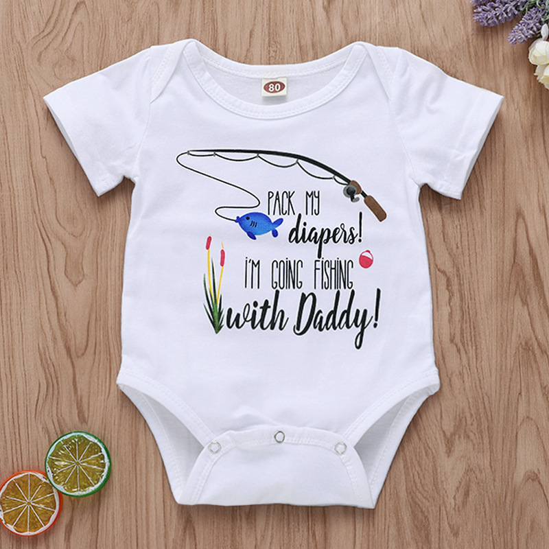 Baby Girl Bodysuits Fishing With Daddy Printed White Onesie First Birthday Outfit Boy Short Sleeve Summer Newborn Funny Clothes