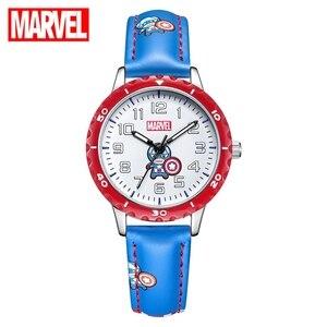 Marvel, Мстители, Капитан Америка, Железный человек, дети, шоу, мультфильм, мальчики, часы, Дисней, кожаный ремешок, кварцевые детские часы, время