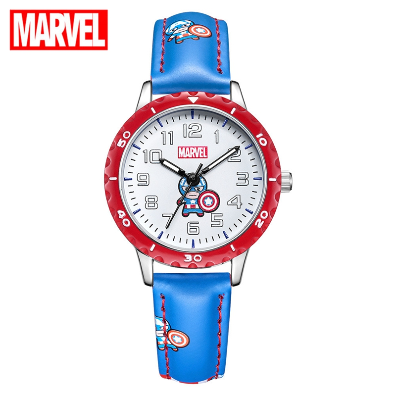 Marvel Avengers Captain Amrica Iron Men Spider Kids Show Cartoon Boys Watches Disney Leather Strap Quartz Child Watch Time Hour