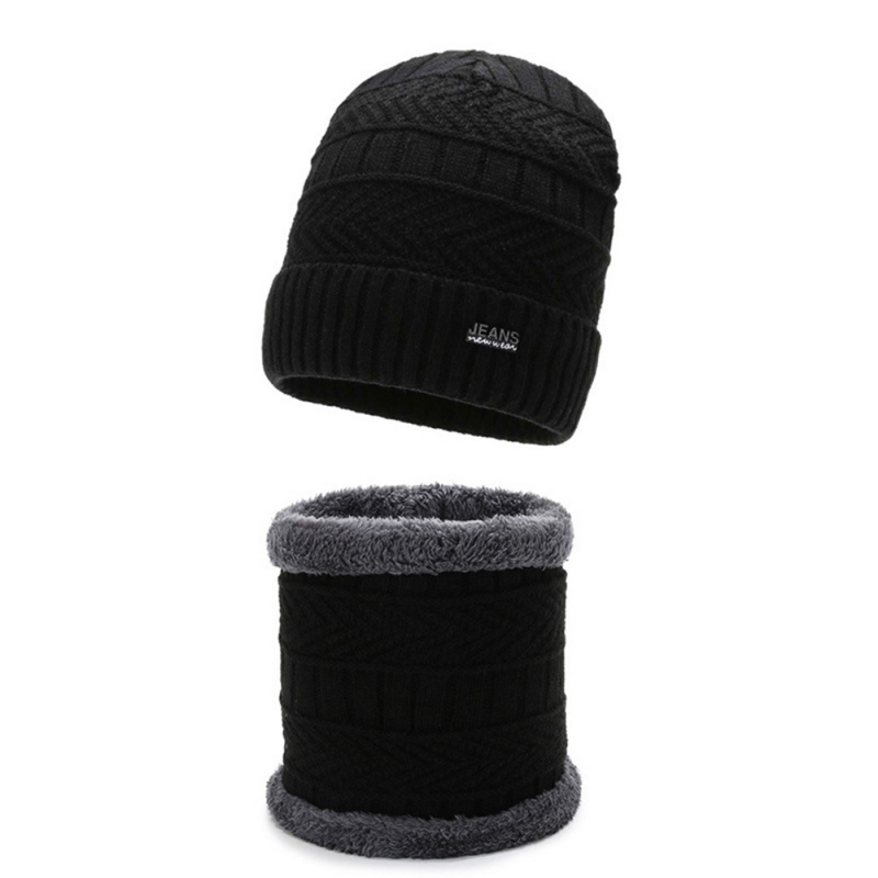 Women Winter Knitted Beanie Hat 2pcs/set Men Scarf Set Plus Velvet Warm Skullies Beanies Hat Neck Scarves Set
