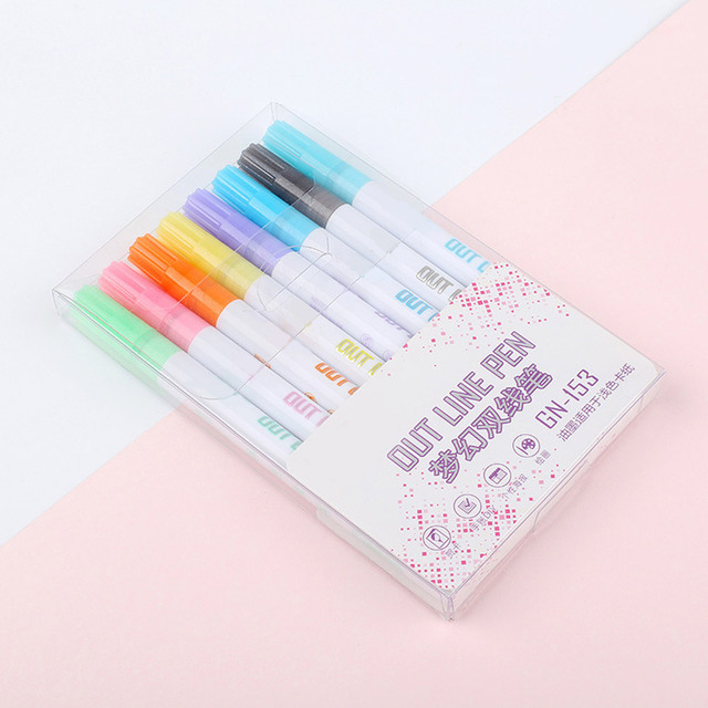 8/12 Color Gift Card Writing Drawing Double Line Outline Pen 2-line Color Pen Set for Children AS99