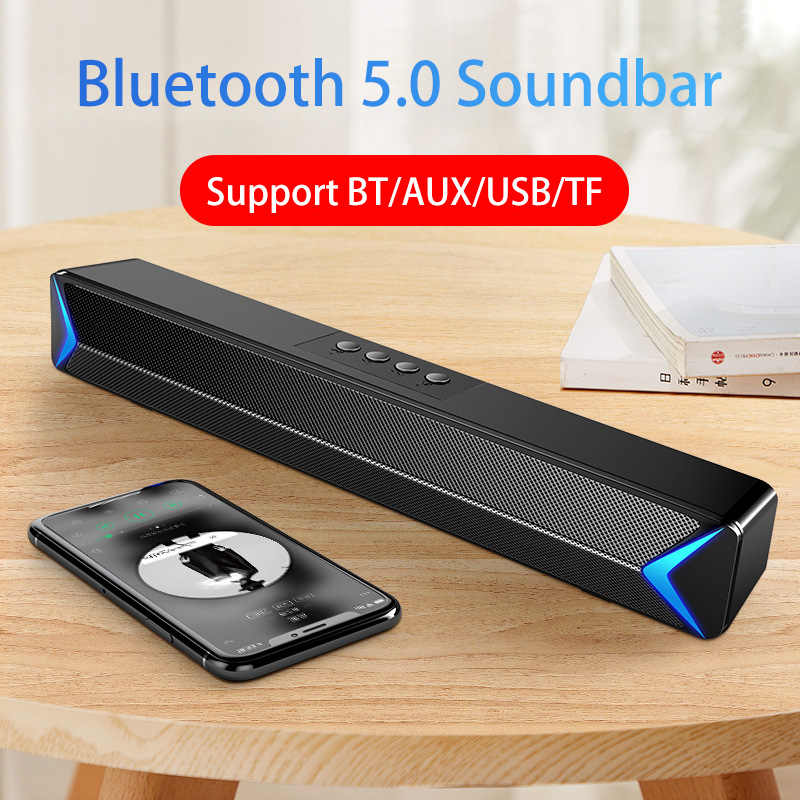 2020 TV Sound Bar AUX USB Wired e Wireless Bluetooth Home Theater FM Radio Surround SoundBar per PC TV Altoparlante per il Calcolatore