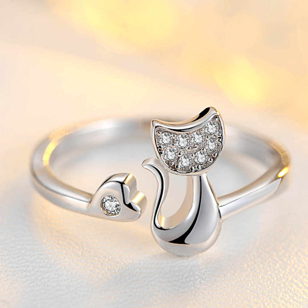 New Delicate Silver Tone Lovely Cat Shape Clear Crystal Inlaid Women Girl Opening Ring Party Jewelry