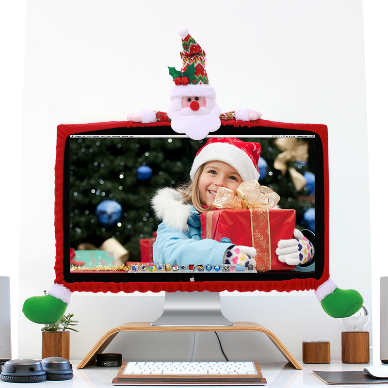 Christmas Decoration Flannelette 19 To 27 Inch Computer Monitor Santa Claus Snowman Reindeer Decorated 2020 New Year Gifts
