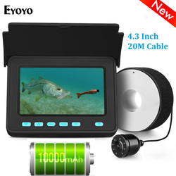 Eyoyo EFPRO 20M Underwater Camera for Fishing 4.3 LCD Monitor Fish Finder 8pcs LEDs Angle 110 degrees Lithium Battery 10000mAh
