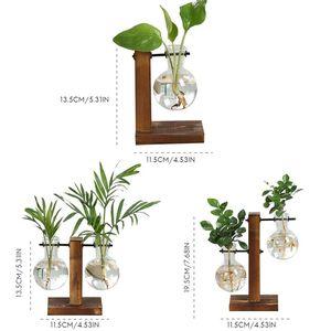 Новый Террариум гидропоники вазы для растений Винтаж Цветочный Горшок прозрачная ваза деревянная рамка Стекло Настольные растения домашний декор бонсай