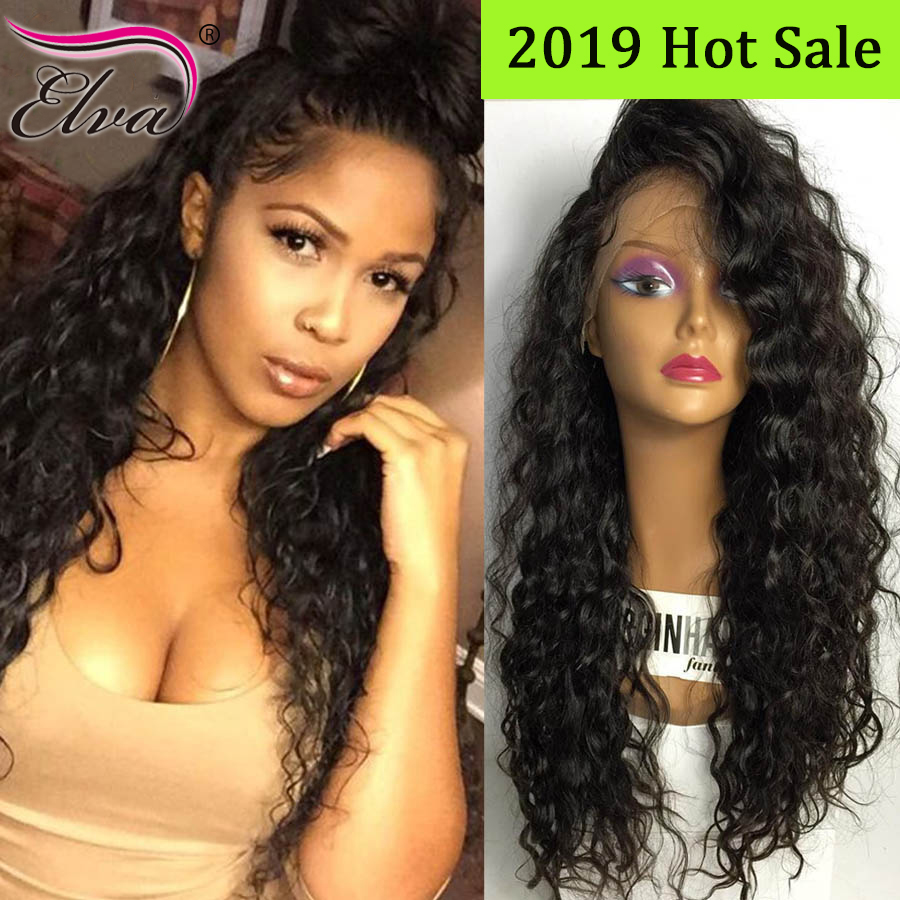 Curly 360 Lace Frontal Human Hair Wigs For Black Women Elva Hair Pre Plucked 360 Frontal Wig With Baby Hair Brazilian Remy Hair