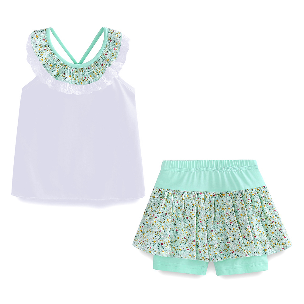 Mudkingdom Floral Summer Girls Outfits Backless Lace Collar Tops and Short Culottes Holiday Clothes for Kids 3