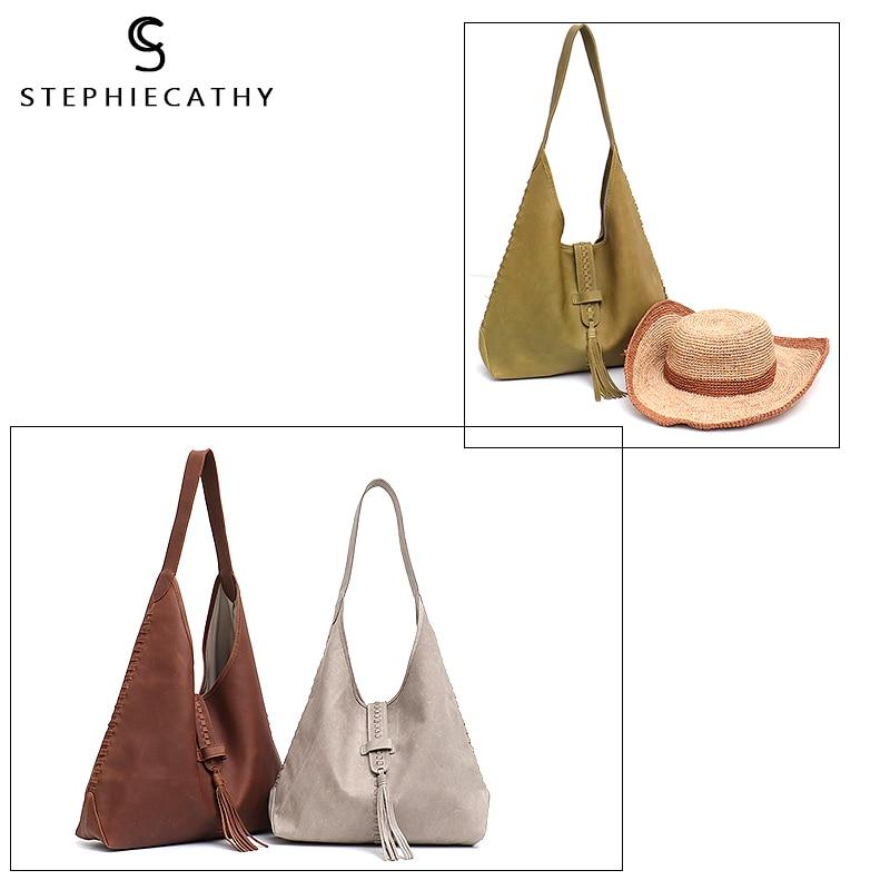Image 5 - SC Brand High Quality Cow Leather Shoulder Bag For Women Fashion  Tassel Design Ladies Large Hobo Genuine Leather Female HandbagsShoulder  Bags