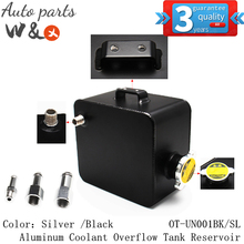 Universal 2.5L Aluminum Coolant Overflow Tank Reservoir Kit Water Header Tank OT-UN001BK