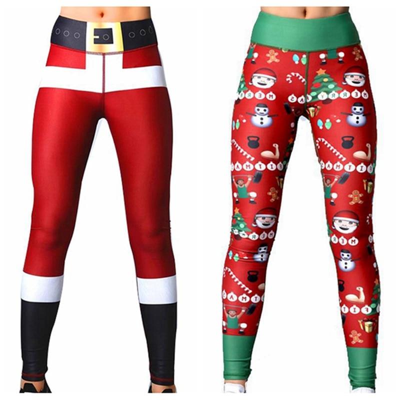 2019 Hot Sale Long Leggings Chic Women Xmas Christmas Deer Santa Claus Snow Print Casual Winter Autumn Fitness Leggings