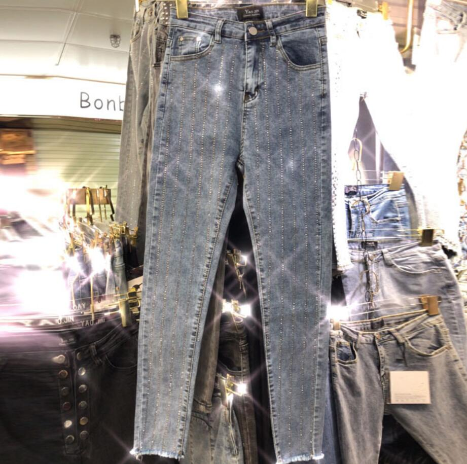 2019 Autumn New Vertical Section Fashion Rhinestone Hot Drilling Shiny Stretch Slim Pencil Jeans Women R2029