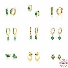 Boucles d'oreilles en argent Sterling 100% véritable S925 en Zircon vert pour femmes et filles, bijoux fins en cristal brillant