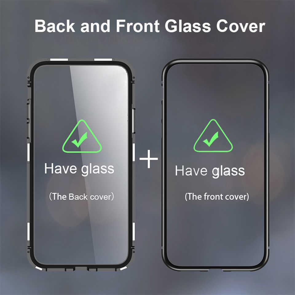 Được xây dựng trong Kim Loại Từ dành cho iPhone XS XR XS MAX 2 mặt Kính Nam Châm Ốp Lưng Trên iPhone 7 8 plus điện thoại