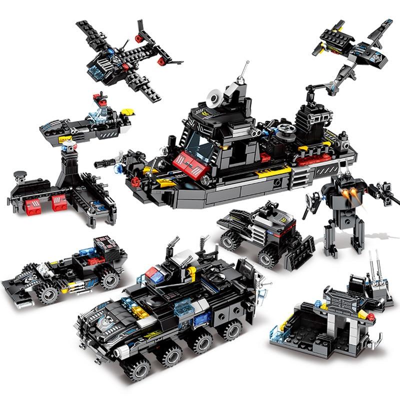 695Pcs City SWAT Police Truck Ship Model LegoINGLs Technic Building Blocks Sets Playmobil Juguetes Lepinblocks Toys for Children