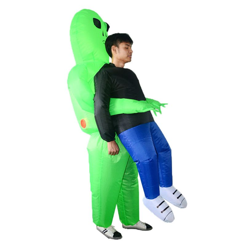 Inflatable Halloween Party Dress Green Alien Pick Me Up Costume Monster Adults Walking Performing Funny Props Suit