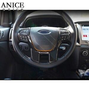 Image 4 - Cor de fibra carbono quadro do volante decorador capa para ford ranger everest endeavour 2015 2016 2017 2018 2019 2020 2021
