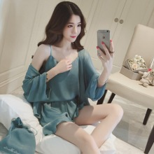 4PCS Sexy Silk Satin Shorts Pajamas Sets for Women Summer Sh