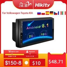 """Hikityアンドロイド8.1カーマルチメディアプレーヤーgpsナビゲーション2ディンhd autoradio wifi usb 7 """"mirrorlinkカーステレオバックアップ受信機"""