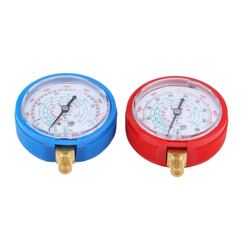 2Pcs Car Auto High Low Tester Gauge Car Air Conditioner Refrigerant Pressure Gauge Kit For R410A R134A R22 Refrigerant