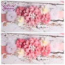 Nishine Boutique Strass Perlen Net Garn Blume Sash Handgemachte Chiffon Floral Frauen Gürtel Mutterschaft Bund Kleid Dekoration
