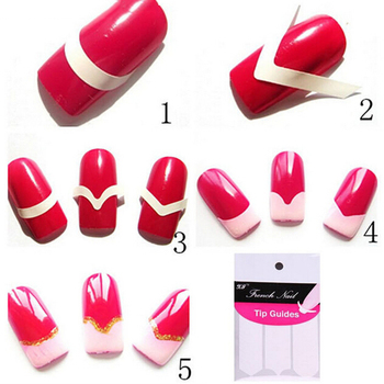 Aacar 1 Vel 3 Stijl Nagels Gidsen Tips Sticker French Manicure Nail Art Decals Vorm Fringe Diy Styling Beauty Tools image