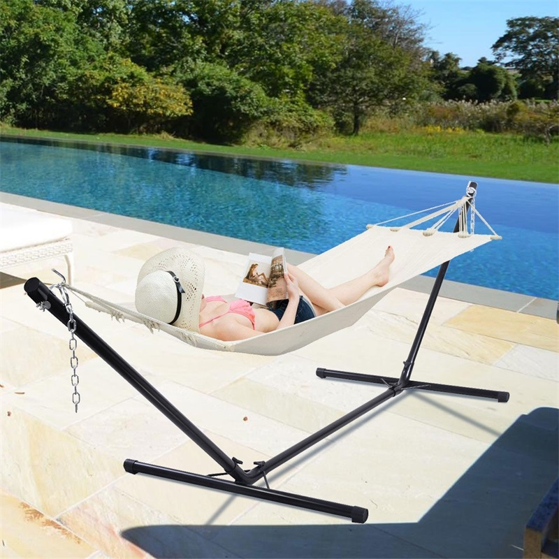 10 Ft Space Saving Steel Hammock Stand Camping Outdoor Travel Swing Chair Bed Hammocks Stand Only OP2650